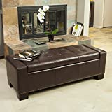 Cheap Jaxson Brown Leather Storage Ottoman w/Nailhead Accent