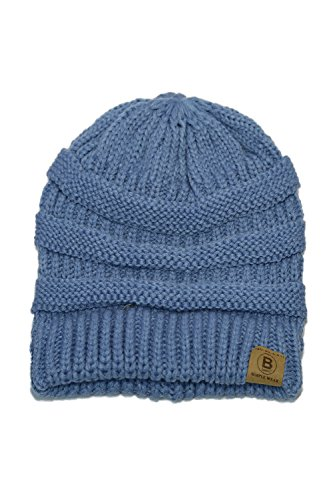 Chunky Cable Beanie - Basico Unisex Adult Warm Chunky Soft Stretch Cable Knit Beanie Cap Hat (101 Carolina Blue)