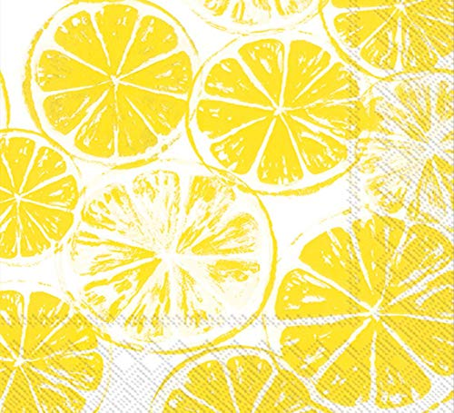 Ideal Home Range 40 Count 3-Ply Paper Lunch Dinner Buffet Napkins, Lemon Bar