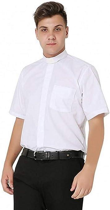 IvyRobes Camisa de Cura Clerical de Manga Corta para Hombre Camisa Alzacuellos Cuello con Pestañas Clero Sacerdote Disfraz: Amazon.es: Ropa y accesorios