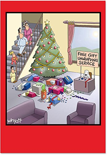 12 'Gift Unwrapping Service' Boxed Christmas Cards with Envelopes (4.75 x 6.625 Inch), Funny Puppy Cartoon Christmas Notes, Hilarious Dog Unwrapping Presents Holiday Notes B1677