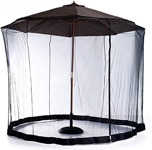 日傘用の蚊帳、ジッパードアとポリエステルメッシュの網が付いている屋外の庭の傘のテーブルスクリーンのテラスの傘のスクリーン、屋外のテラスのキャンプのUmbに適した高さと直径の調整可能