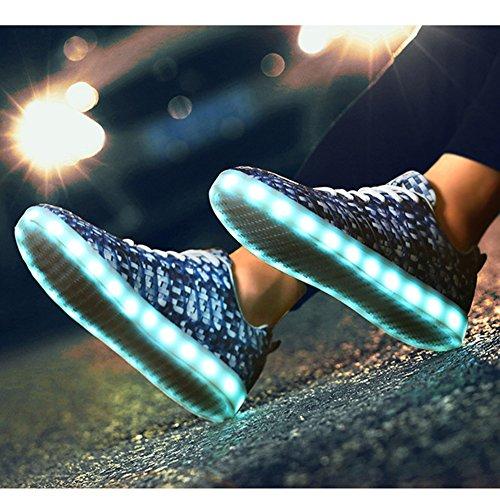 Lumineux 7 Homme Sneakers Led Mixte Sport Bleu Foncé Padgene Camouflage Amant Adulte Chaussures De Femme Baskets Couleurs Usb Charge WOwAzAC7xq