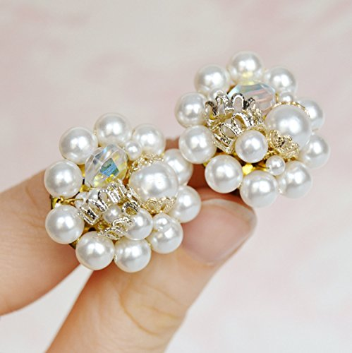 Vintage Clip-On Earrings with White Faux Pearls and Glass Beads Made in Japan ()