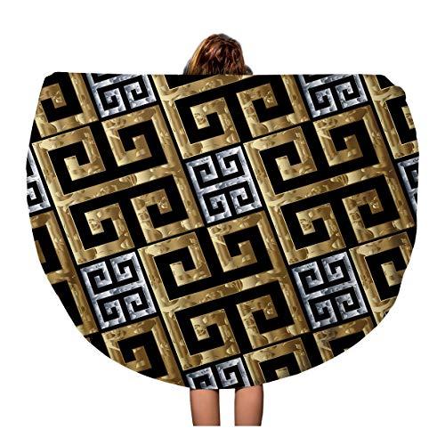 - Pinbeam Beach Towel Gold Silver Greek Key Meanders Geometric 3D Modern Travel 60 inches Round Tapestry Beach Blanket