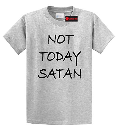 (Comical Shirt Men's Not Today Satan Funny Religious Tee Ash Grey 5XL)
