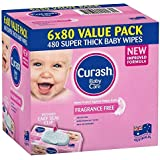 Curash Curash Fragrance Free Baby Wipes 6x80s, 420 count