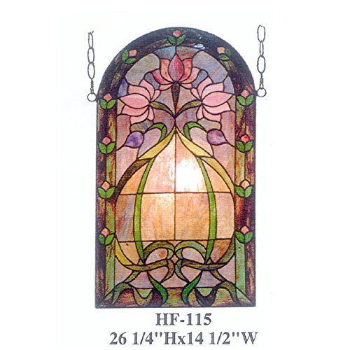 HF-115 Rural Vintage Tiffany Style Stained Church Art Glass Decorative Floral Sector Design Window Hanging Glass Panel Suncatcher, 26.25''H14.5''W by Gweat Window Hanging (Image #3)