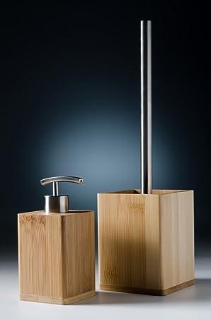 Modernes Badezimmer Set, Seifenspender mit passender WC Bürste, natürlicher  Bambus, elegantes Design, pflegeleicht, Bambus Set