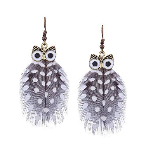 Black Enamel Drop - Bohemian Peacock Feather Dangle Drop Hoop Earrings for Women Vintage Enamel Owl Charms (Enamel Owl Black Feather)