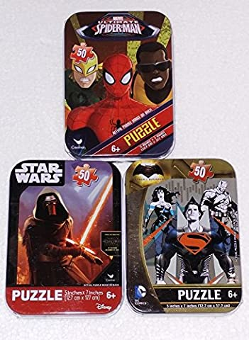3 Mini Puzzles in Tin Cases Bundle: Star Wars: The Force Awakens, & Batman vs. Superman & Ultimate - Mini Tin Case