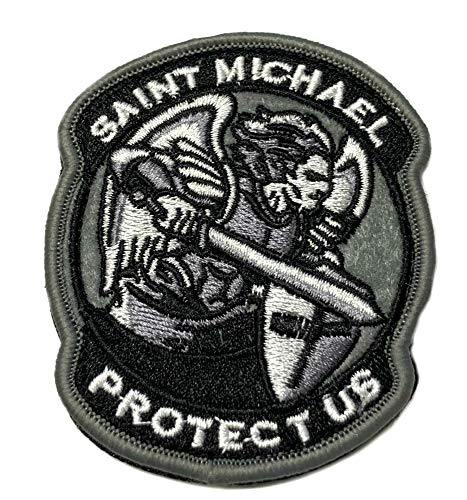 Saint Michael Protect Us Tactical Military Morale Patch Series Embroidered Hook and Loop Badge DIY Appliques Application Patches Cloth Fabric Badges Cap Bag Jackets