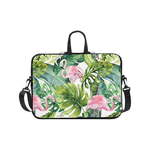 (InterestPrint Watercolor Flamingo and Greenery Palm Tree Leave Laptop Sleeve Shoulder Bag with Handle & Strap, Notebook Computer Carrying Bag 17 17.3 Inch for MacBook Dell HP Acer Woman Man)