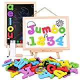 JOYNOTE Magnetic Letters and Numbers Jumbo Thick Double Sided Wooden Board,Educational Fridge ABC Magnets Alphabet for Kids Learning,Spelling and Drawing by (119 Pieces and Storage Bag Included)