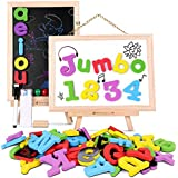Magnetic Letters and Numbers Jumbo Thick with Double Sided Wooden Board,Educational Fridge ABC Magnets Alphabet for Kids Learning,Spelling and Drawing by JOYNOTE (119 Pieces and Storage Bag Included)