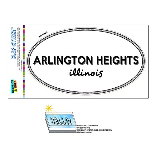 Graphics and More Euro Oval Window Bumper Laminated Sticker Illinois IL City State Add - Cic - Arlington (Arlington Heights City)
