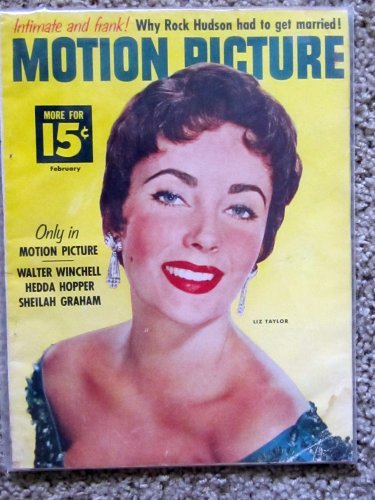 (MOTION PICTURE magazine February 1956 with Elizabeth Taylor on cover . INSIDE: articles on Debbie Reynolds, Clark Gable, Jack Lemmon, Grace Kelly)