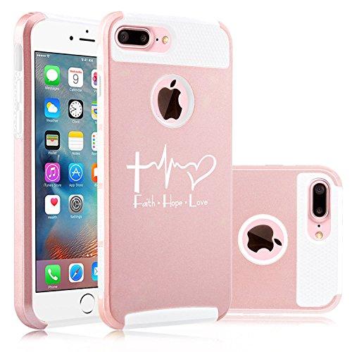 for Apple (iPhone 8 Plus) Shockproof Impact Hard Soft Case Cover Faith Hope Love EKG Christian (Rose Gold-White)
