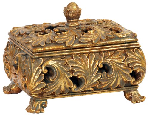 Sterling Home 87-2636 Textured Leaf Footed Keeping Box, 7-1/2-Inch Long by 6-1/4-Inch (Grande Baroque Gold Accent)