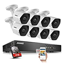 ANNKE 8CH 3MP Surveillance Camera System With 2TB WD HDD and (8) 3 Mega-Pixels (19201536) Indoor/ Outdoor Metal Bullet Cameras for True Day and Night Monitoring