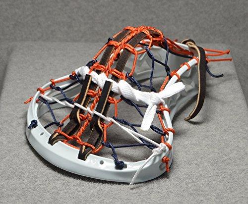 ORANGE JUICED Inspired by Syracuse U. Blackfeet Lacrosse Mini Stick Traditional strung Pita Pocket Brown Leathers - White Head with Orange finish Handle ()