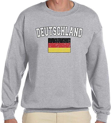 Amdesco Men's Deutschland Flag, German Flag of Germany Crewneck Sweatshirt, Heather Gray Large