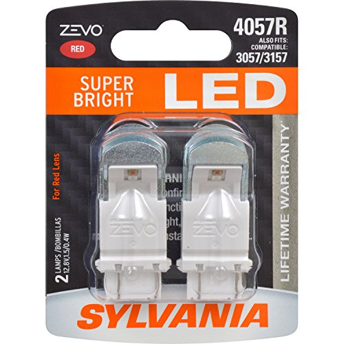 SYLVANIA - 4057 ZEVO LED Red Bulb - Bright LED Bulb, Ideal for Stop and Tail Lights (Contains 2 Bulbs)