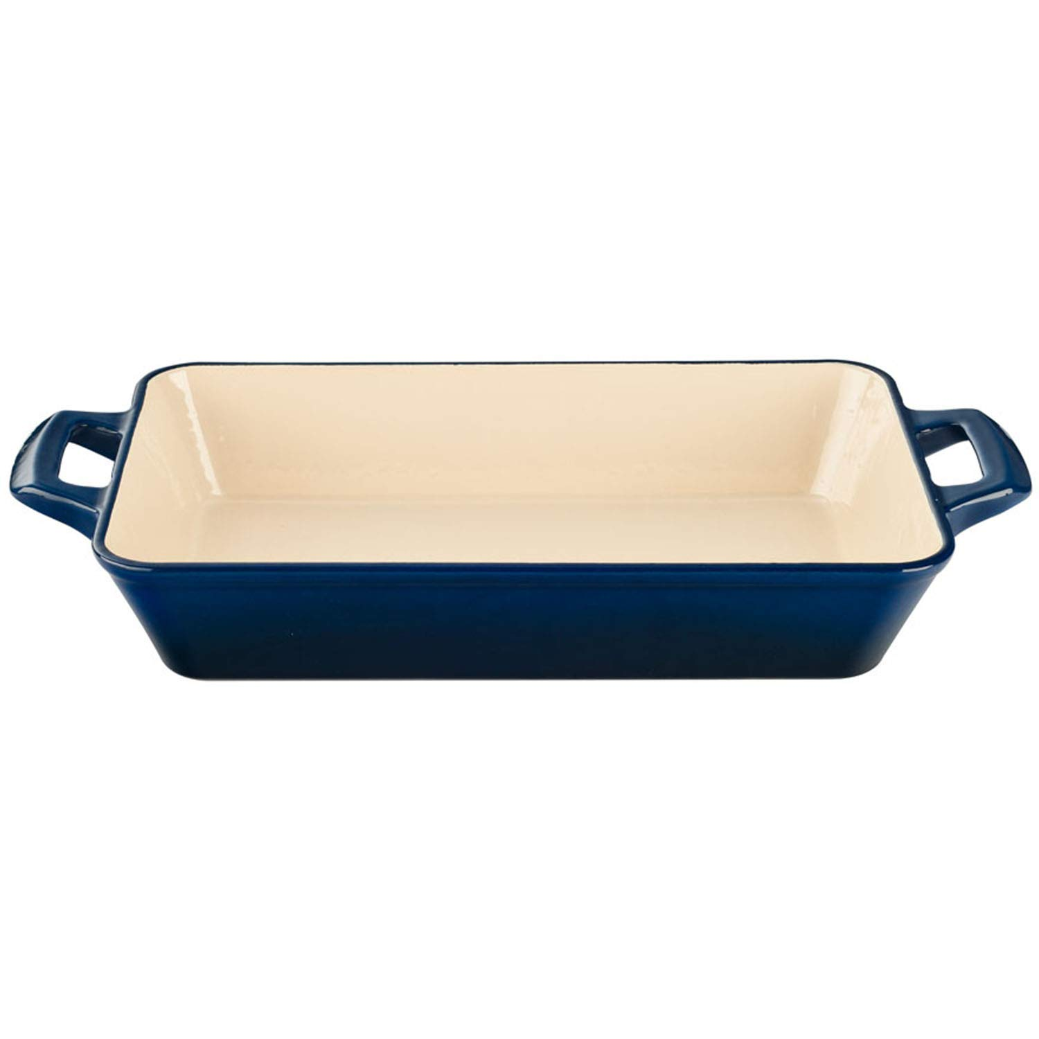 La Cuisine LC 8370 Medium Deep Cast Iron Roasting Pan with Enamel Finish, Blue,
