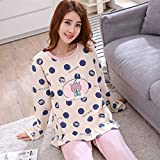 Junson Sleepsuits Women's Cotton Long-Sleeved Pajamas Spring and Autumn Fashion Yellow Home Service Suits (Size : M) for You (Size : Medium)