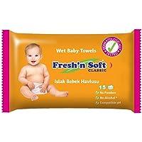 Fresh'n Soft Classic Islak Bebek Havlusu, 15 Yaprak / ( Seyahat Paketi)