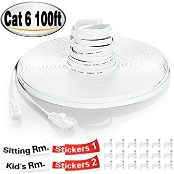 TBMax Cat 6 Ethernet Cable 100ft With Cable Clips &Sticky Labels, Flat High Speed Fast Ethernet Cables 100 Feet, Long Slim Computer Internet Network Cable Cat6 100 ft Snagless RJ45 Connectors, White