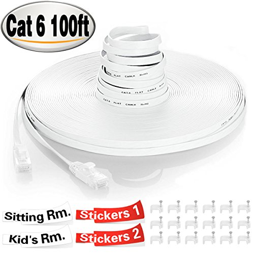 TBMax Cat 6 Ethernet Cable 100ft With Cable Clips &Sticky Labels, Flat High Speed Fast Ethernet Cables 100 Feet, Long Slim Computer Internet Network Cable Cat6 100 ft Snagless RJ45 Connectors, White by TBMax