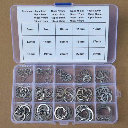 Washers | 150Pcs 8mm | 24mm Stainless Steel Internal Circlip Retaining Ring Snap Ring Kit | by BATULY by BATULY