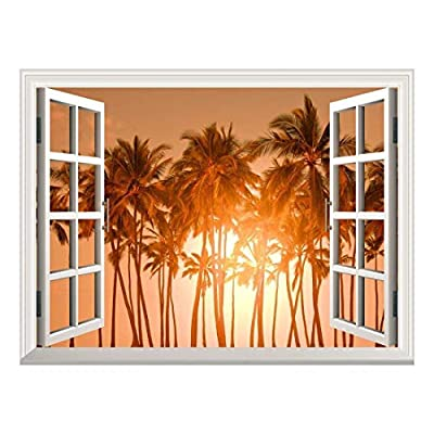 Charming Artistry, Quality Artwork, Removable Wall Sticker Wall Mural Beautiful Tropical View of Palm Trees at Sunset Creative Window View Wall Decor