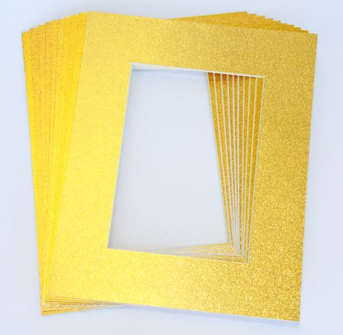 pack-of-10-gold-11x14-picture-mats-matting-with-white-core-bevel-cut-for-8x10-pictures