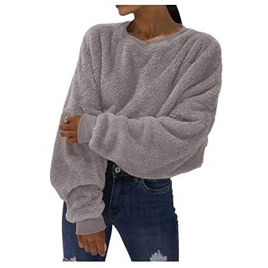 cheap for discount b02de 1dcc6 WHSHINE Frauen Sweatshirts Winter Einfarbig plüsch Warme ...