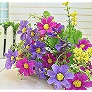 HuntGold Wedding Party Home Decor Artificial Fabric Lot Chrysanthemum Bouquet Stem Flower(purple)