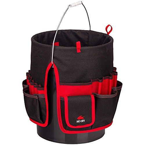 NoCry Heavy Duty Bucket Organizer - with 35 Pockets, 5 Tool Loops, and Tape Hook/Strap. Fits a Standard Five and Three Gallon ()