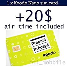 Koodo Mobile Prepaid Nano sim card with 20$ air time (voucher) included