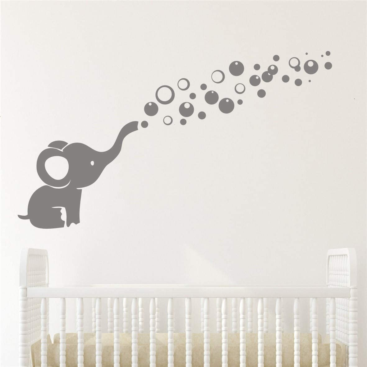 Removable Nursery Room Wall Decor Cute Elephant Blowing Bubbles Wall Decal Art Vinyl Wall Decor Sticker for Baby Bedroom (Gray)