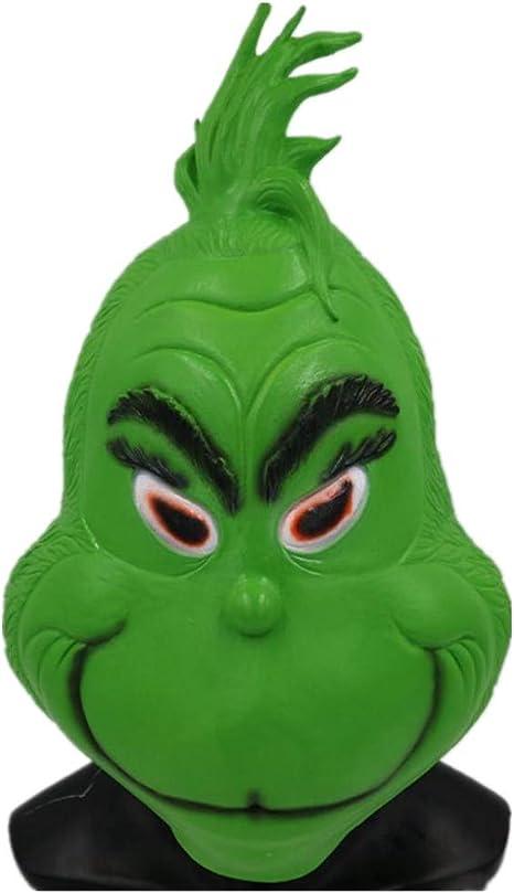 CYCG Máscara de Grinch Verde con Pelo Helmet Látex Mask para ...