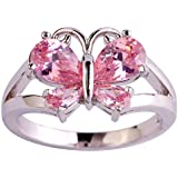 Amethyst Pink Blue White Gemstone Women AAA Silver Ring Size 6 7 8 9 10 11 12 13#by pimchanok shop (7, 905 Pink Topaz)