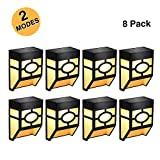 Greluna Solar Fence Lights,2 Modes Solar LED Outdoor Wall Lights Deck, Fence, Patio, Front Door, Stair, Landscape,Yard Driveway Path,Warm Amber/Color Changing,Pack of 8