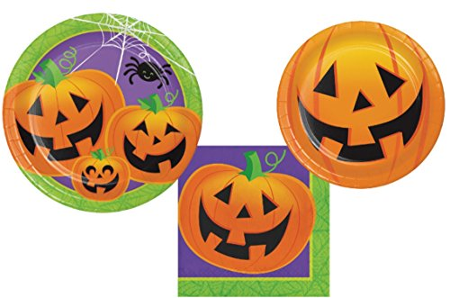 (Halloween Party Supply Pack - Jolly Jack Design: Bundle Includes Paper Plates and Napkins for 8)