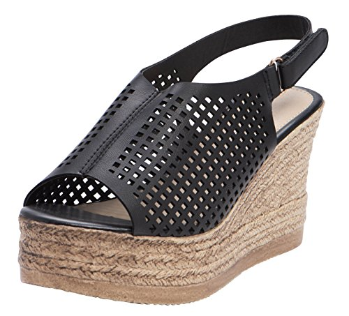Cambridge Select Women's Open Toe Perforated Cutout Caged Velcro Slingback Espadrille Platform Wedge Sandal (9 B(M) US, Black PU)