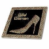 3dRose ct_21804_1 Cheetah Print Wildly Woman Stiletto Pump and Diamond Bling-Ceramic Tile, 4-Inch