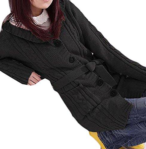 Fulok Women's Hooded Knit Sweater Belted Open Front Cardigan Sweaters Black One ()