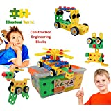 Educational Toys Construction Engineering Blocks By ETI Toys for Boys and Girls 85 Piece Set for Building Endless Combinations! Great for Learning & Having Fun Build Your Imagination Today!