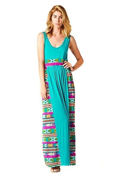 3c92635da26 Fourever Funky Tribal Aztec Teal Womens Summer Maxi Dress Made in ...