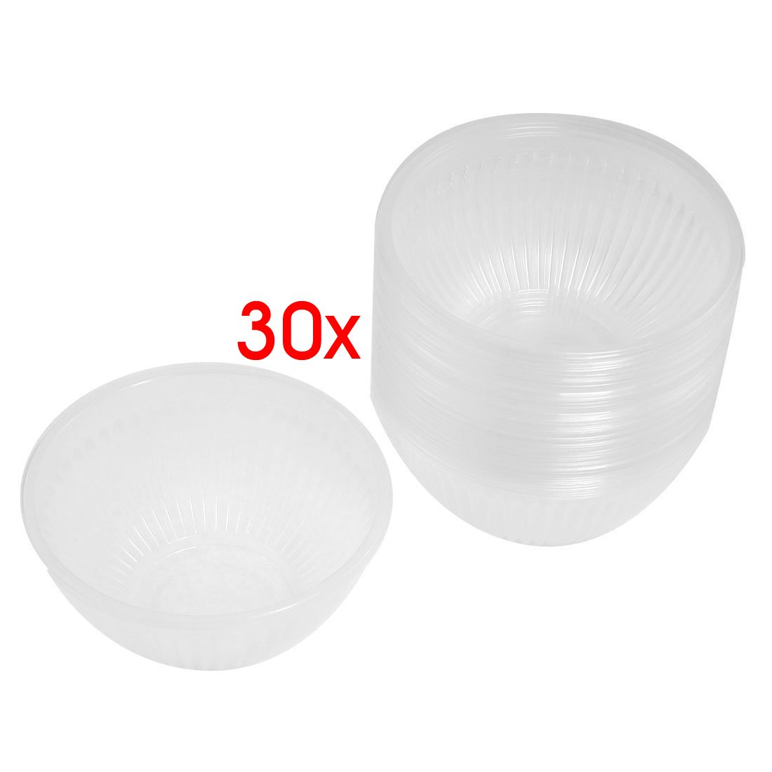 SODIAL(R) 30 Pcs 4.1 Diameter Clear Plastic Disposable Rice Bowl